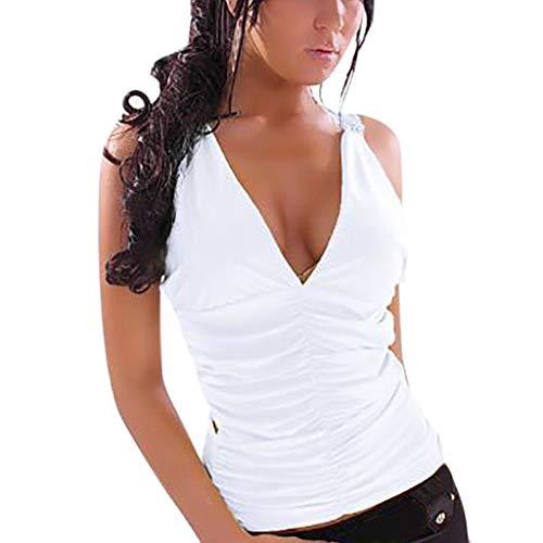 POLP Tank Tops Mujer Sexy Camisetas sin Tirantes Mallas y Bodies Crop Tops con Escote en V Tank Tops Casual Camisetas sin Mangas Blusa Talla Grande Blanco Negro S,M,L,XL