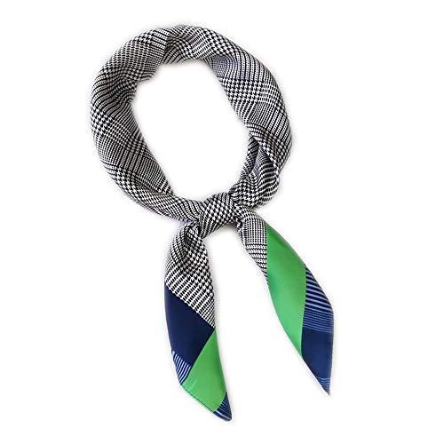 LITOON LITOON Kopftücher Damen Halstuch Schal Frauen Kopftuch Taschentuch, Ansatz Handgelenk Verpackungs Silk Halstuch Bandanas Stirnband für Mädchen Frauen 27.6x27.6inch (Plaid/Green)