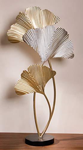Dekoleidenschaft Metall-Blätter-Deko Ginkgo in Gold und Silber, 61 cm hoch, Moderne Baum-Blatt-Dekoration