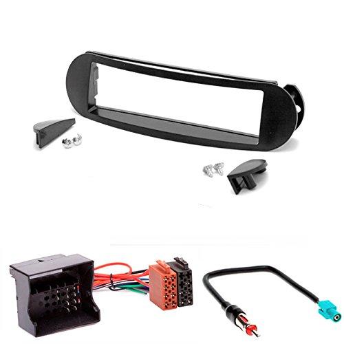 CarAV 11-040-25-7 Kit d'installation de façade d'autoradio 1-DIN pour VW New Beetle de 1997-2010 + câble adaptateur ISO et antenne