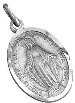 Medal Plata de ley milagrosa de 12 mm x 16 mm. Plata de ley de Nuestra Señora Inmaculada de Nuestra Señora.