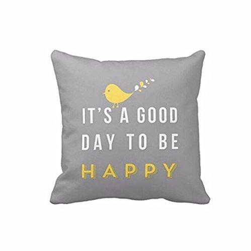Manta funda de almohada, Funic pájaro amarillo carta impresión fundas de cojín Home Room Decor