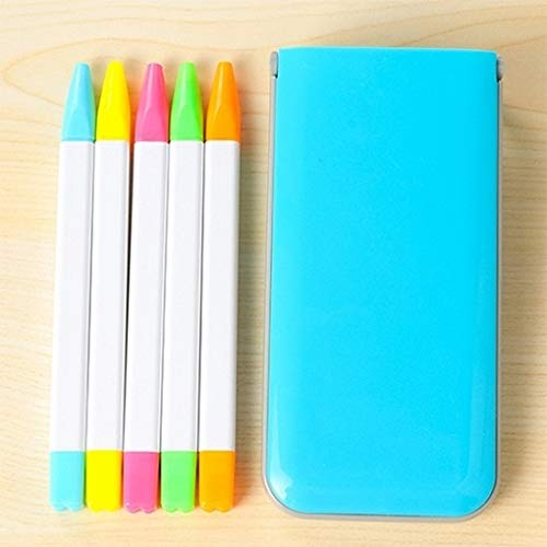 for Office&School Wr 5 PCS/Box Süßigkeit-Farben-Fluoreszenz-Marker Pen Duft Highlighter Pen Aquarell-Stift-Markierungs-Feder (blau) (Farbe : Blue)