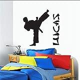 tzxdbh Vinilos Parede Nombre De Niño PersonalizadoVinilo Tatuajes De Pared Cotizaciones Nursery Boys Karate Taekwondo Etiqueta De La Pared para Niños Habitación59 * 97 Cm