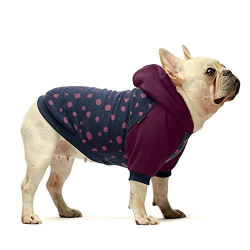 Fitwarm Polka Dot Pet Clothes Dog Hoodie Sweatshirts Pullover Cat Jackets Fleece Pink Medium
