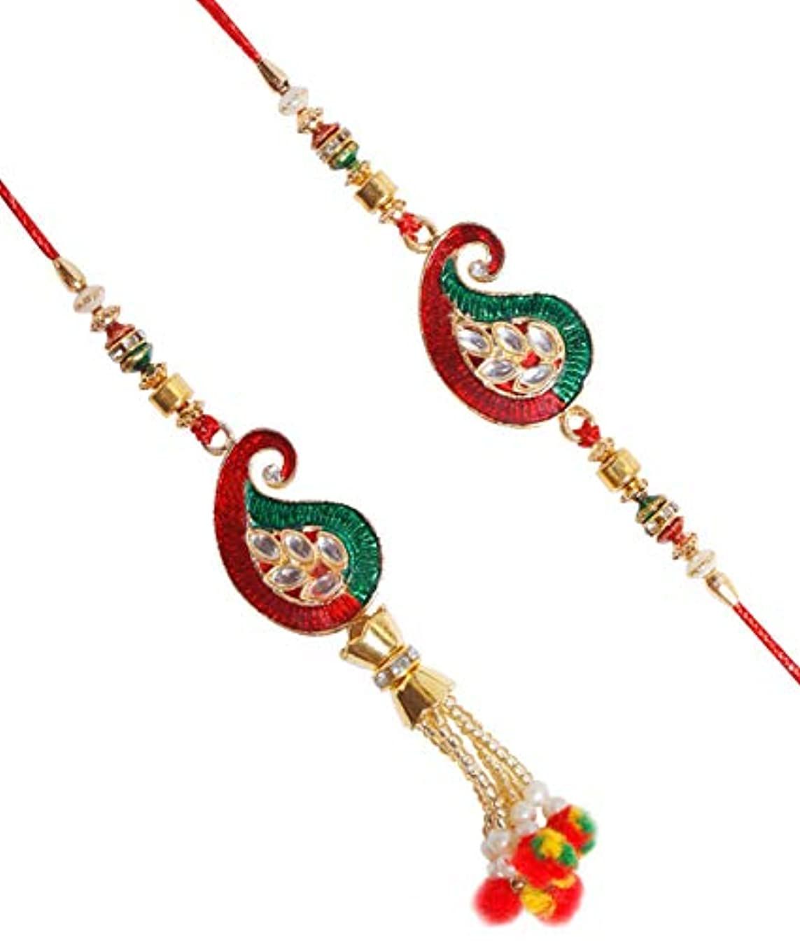 Paisley Design American Diamond Lumba Rakhi Bhaiya Bhabhi Rakhi for Brother Bhai Bhaiya with Crystal Beads Raksha Bandhan Traditional Rakhee for Kids Indian Hindu Festival