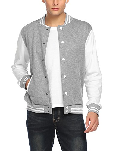 COOFANDY Men Fashion Long Sleeve Button Front Cotton Bomber Baseball Jacket,Large,Gray