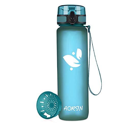 AORIN Botella de Agua Deportiva-350ml/500ml/750ml/1000ml-Botella Agua Ninos Sin BPA,Impermeable y Reutilizable,Aplicar a Deportiva, Gimnasio, Trekking,Botella Agua Bicicleta (17oz Sea Glass)