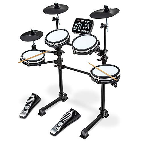 LyxJam 7-Piece Electronic Drum Kit, Professional Drum Set with Real Mesh Fabric, 209 Preloaded Sounds, 50 Play-Along Songs, Recording Capability,...