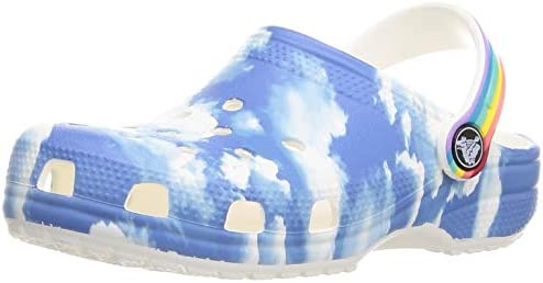 crocs unisex child Kids Classic Graphic Slip on Water Shoes for Boys and Girls Clog Clouds Rainbow product image