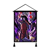 Naruto Hanging Poster Canvas Wall Art,Naruto Anime Madara Tapestry Plush Scroll With Tassels,Decoration For Home,Anime Fans Gift,Office,Comic Exhibition 18x26 in