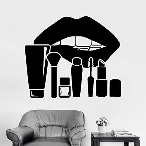 Vinyl Wall Decal Lippen Make-up Kosmetik Schönheitssalon Aufkleber Vinyl Removable Home Decor Diy Abziehbilder Nail Shops Fenster Dekor Blau 56x61cm