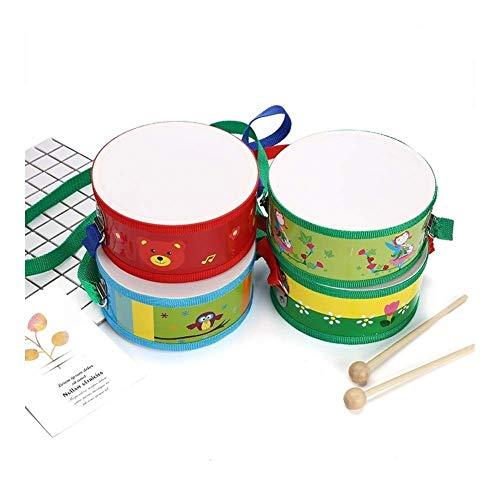 Dirgee 15 cm Spielzeug musikalinstrument Trommel niedlich Holz mit Kunststoff Papier Schmerz Spielzeug Geschenk for Kind Kind feiner (Farbe: zufällige Farbe) (Color : Random Color)