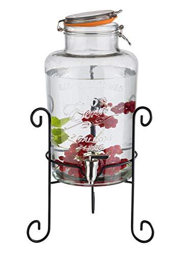 """APS Getränkespender """"Old Fashioned"""" - Premium Getränkespender aus Metall, Glas und rostfreiem Edelstahl mit dicken, stabilen Wänden und Einer weiten Öffnung für Zutaten"""