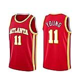 TINKOU Camiseta de la NBA sin Mangas, Camiseta Deportiva de Baloncesto Swingman de Malla Transpirable y Resistente al Desgaste, Atlanta Hawks # 11