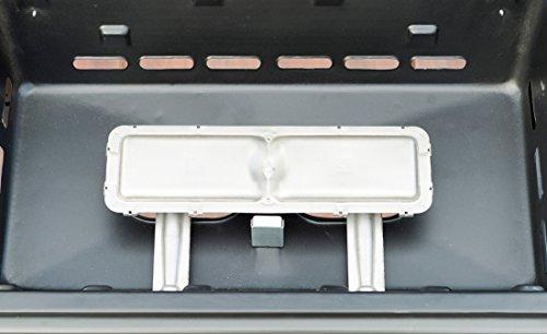Campingaz Expert Plus Barbacoa gas piedra volcanica, parrilla gas con dos quemadores compactos y quemador lateral, 7 kW de potencia, parrilla de acero y mesas laterales