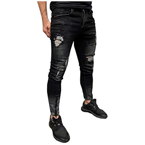 Zolimx Jeans Herren Slim Fit Stretch Jeanshose Zerrissene Hose Designer Hose Denim