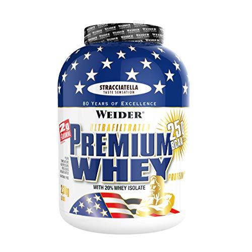 Weider Premium Whey Proteinpulver, Low Carb Proteinshakes mit Whey Protein Isolat, Stracciatella, (1x 2,3 kg)