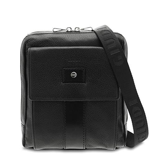 GIUDI ® - Herrentasche aus gehämmertem Kalbsleder, Echtleder, Schultergurt für Herren, Tablet-Tasche 7 Zoll, Made in Italy, Schwarz (Schwarz) - 10308/AE/GD