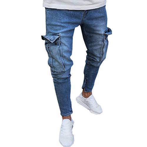 Sumeiwilly Hosen Herren Jeans Destroyed Slim fit Hose Destroyed Sommer Hosen Große Größen Jogger Jeans mit Löchern Stretch Männer Blau Marine, S-4XL
