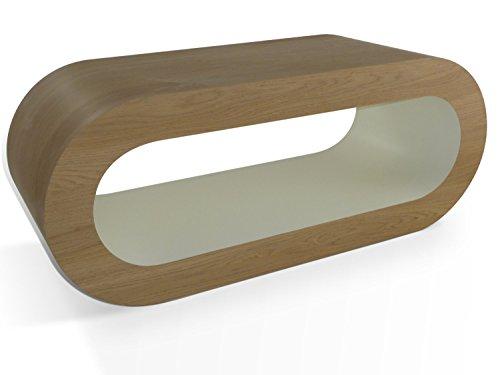 Zespoke Design Rétro Médium Mat Chêne D'Arrivée La Crème 90cm Cerceau Table Basse/Meuble TV