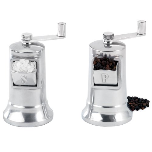 Perfex Harold Import Co Salt and Pepper Mill Set, 4-1/2-Inch Tall, Silver