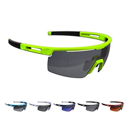 BBB Cycling Fahrradbrille Avenger | Herren und Damen Sportbrille Sonnenbrille Radsport | mit Wechselgläsern | Polycarbonat | MTB Rennrad Urban | Neongelb | BSG-59
