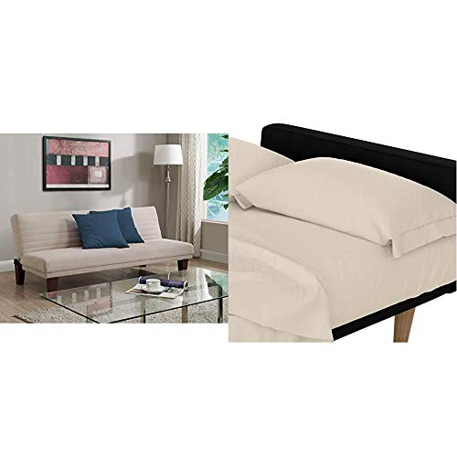 DHP Dillan Convertible Futon Couch Bed with Microfiber Upholstery and Wood Legs - Tan & Futon and Twin Sleeper Sofa Microfiber Sheet Set, Natural/Beige