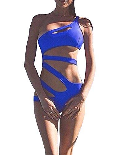 Donna Elegante Bandage Costumi da Bagno Un Pezzo Costume Intero Imbottito Monokini Swimsuit Beachwear Swimwear Blu S