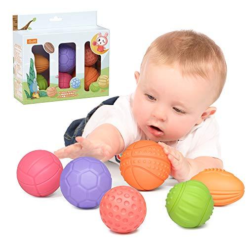 Juguetes para bebés Bolas de apilamiento para bebés de 0 a 6 meses, Juguetes educativos de compresión suave, Juguetes para masticar la dentición Juguetes para el baño del bebé Niños pequeños 0-3 años