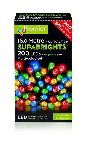 Premier Multi Coloured 200 Led Christmas Lights Supabrights, Meterial, Multicolor