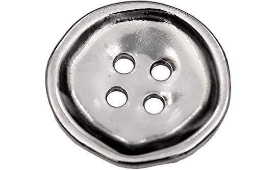 Hartmann-Knöpfe 6 Stück, silbern glänzende 4-Loch Metall-Knöpfe, die mit ihrer unperfekten Form bestechen, in 5 Größen erhältlich (6 Stück) (23mm)