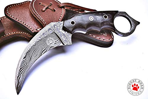 Custom Handmade Karambit Knife Tactical Combat EDC Full Tang Damascus steel Blade Black Wood Handle 7.50'' Overall with Leather Sheath Bigcat Roa