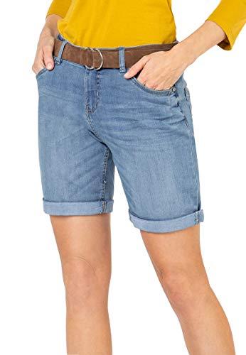 Sublevel Damen Jeans Bermuda-Shorts mit Veloursleder Gürtel Light-Blue M