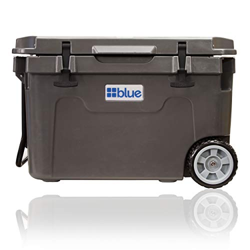 Blue Coolers Ice Vault – 55 Quart Roto-Molded Ice Cooler with Wheels | Large Ice Chest Holds Ice up to 10 Days | Charcoal Gray