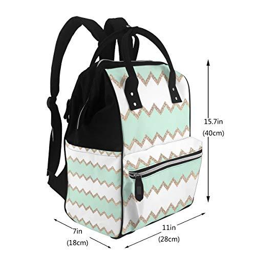 Mochila multifunción para mamá Avalon Seagreen con impresión artística para cambiar pañales, bolsa de maternidad, mochila para viajes, gran capacidad