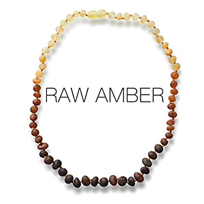 Meraki Adult Amber Necklace - Raw Unpolished Baroque Baltic Amber Necklace | All Natural Pain Relief for Adults to Help Migraines, Sinuses, Arthritis and More | Rainbow Color (18 Inches)