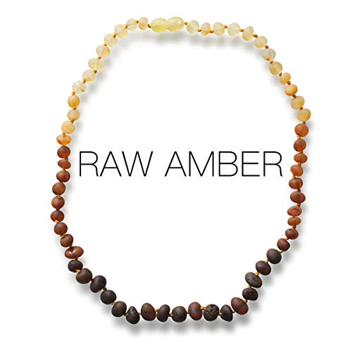 Meraki Amber Necklace - Raw Unpolished Baroque Baltic Amber Necklace | Alternative Pain Relief - Certified Genuine Baltic Amber Necklace | Rainbow Color (12.5 Inches)
