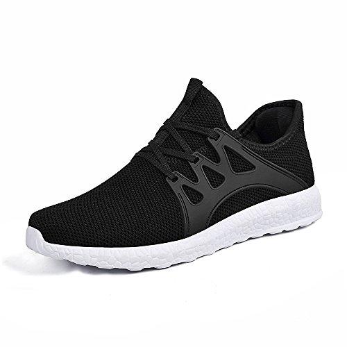 ZOCAVIA Herren Damen Sneaker Running Laufschuhe Sportschuhe rutschfeste Sneaker, Schwarz-weiß1, 46 EU