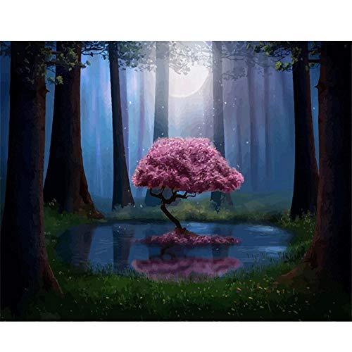 Guyuell DIY ölgemälde diy Malen Nach Zahlen Landschaft Wald Rosa Baum Acryl Malen Nach Zahlen Für Erwachsene Wandkunst Pictur Home Dekore-40 * 50Cm,With Frame