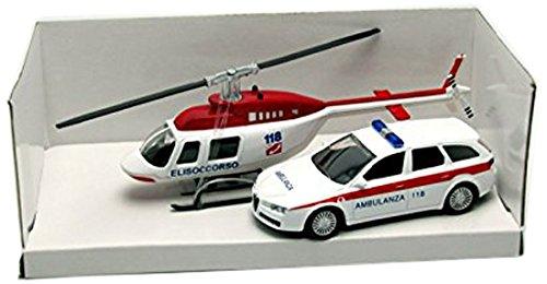 Mondo Motors - 57004 Ambulance- Véhicule Miniature - Modèle À L'échelle - Hélicoptère - Ambulance- Echelle 1:43 (Coloris aléatoire)