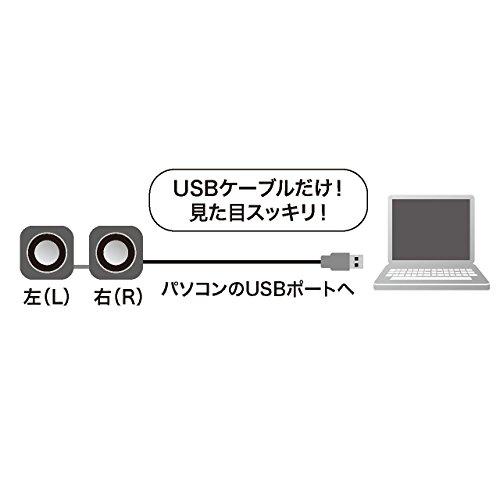サンワサプライコンパクトPCスピーカーUSB接続ブラックMM-SPU8BK