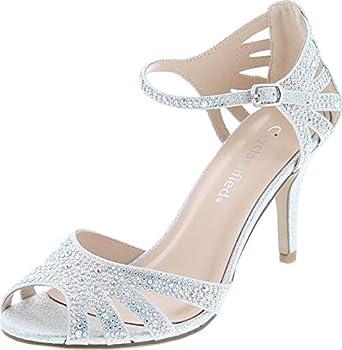 City Classified Reason Women s Strappy Open Toe Rhinestone Low Heel,Silver,7.5