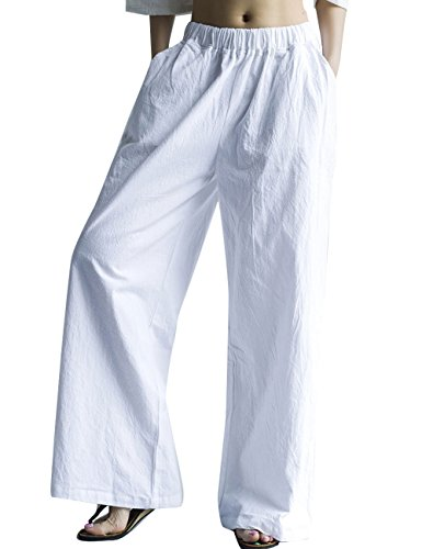 Youlee Mujer Verano Cintura Elástica Algodón Lino Amplio Pierna Pantalones Blanco