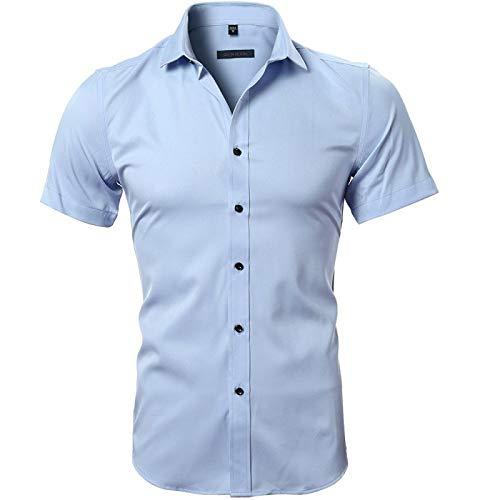 Camisas de Manga Corta de Color sólido para Hombres Moda Simple de Negocios Casual Básico Todo-fósforo Moda Camisa de Cuello Vuelto XL