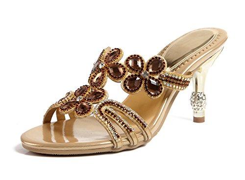 Honeystore Frauen Blumen Funkelnde Glitzer Stöckel Absatz Peep Toe Sandalen mit Strass Kristall Schuhe Gold 36 EU