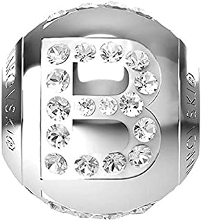 SWAROVSKI LETTER B Stainless Steel Becharmed 12 MM CRYSTAL BEAD