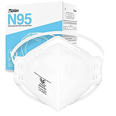NIOSH Approved N95 Mask Particulate Respirator - Pack of 10 Face Masks - Universal Fit from Maxboost