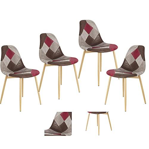 Lot de 4 chaises de salle à manger patchwork multicolores avec dossier en lin, tissu et bois, pieds en métal, pieds en bois massif, multicolore (style 3-bbjc)