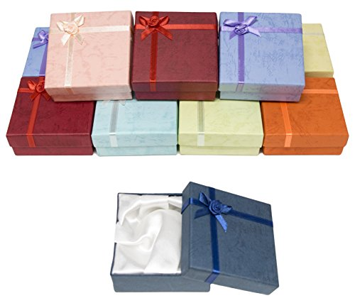 Novel Box Cardboard Jewelry Bangle Gift Boxes with Rosebug Bows in Assorted Colors 3.5X3.5X1 (Pack of 12) + NB Cleaning Cloth